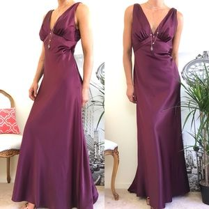 After Six Burgundy Satin Formal Gown